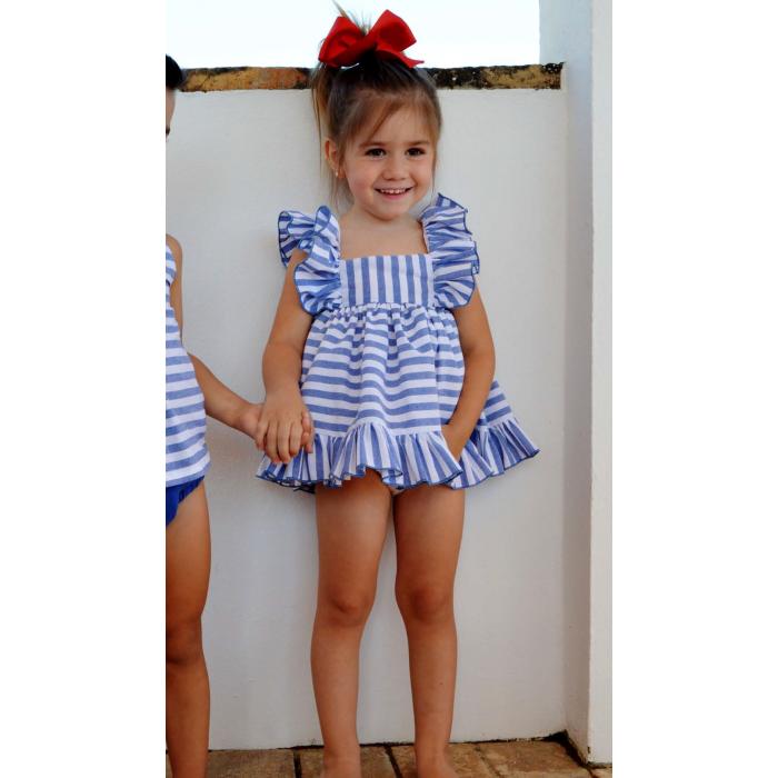 Vestido de rayas azul con blanco