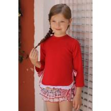 Sudadera con puntilla y lazos roja