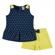 Conjunto short amarillo y camiseta lunares