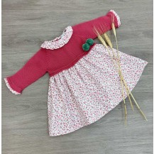 Vestido combinado flores liberty rosa