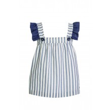 Vestido rayas gris azulado tirantes