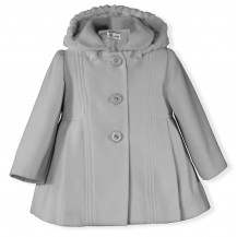 Abrigo paño gris pelo capucha