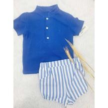 Conjunto polo azulón + pantalón rayas