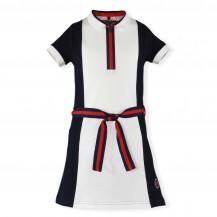 Vestido marino, blanco y rojo cuello polo