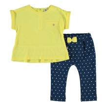 Conjunto leggins lunares y camiseta amarilla