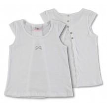 Camiseta manga corta blanca lazo plata