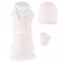 Conjunto bufanda, gorro y manoplas rosa lazo