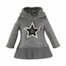 Vestido bebé punto gris estrella tull