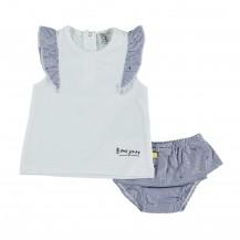 Conjunto braguita y camiseta marino lazos
