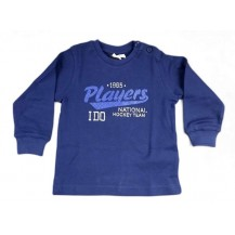 Camiseta algodón m/l cuello redondo azul marino