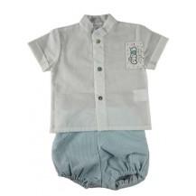 Conjunto camisa cuello mao blanca y pantalón corto rayas verde agua