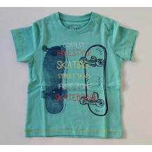 Camiseta manga corta verde agua algodón