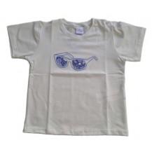 Camiseta blanca manga corta flores azul