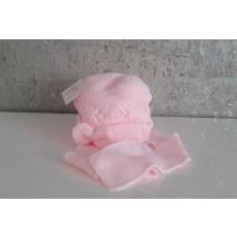 Gorro casquete rosa con bufanda incluida