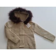 Abrigo / chaqueta arena capucha pelo color vison