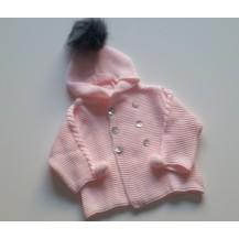 Cazadora punto rosa gorro pompon