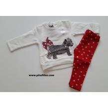 Conjunto leggins rojo lunares plata y sudadera crema
