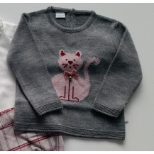 Suéter gris gatito granate