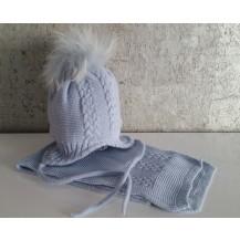 Gorro azul empolvado pompon pelo y bufanda