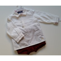 Conjunto bombacho micropana granate y camisa blanca