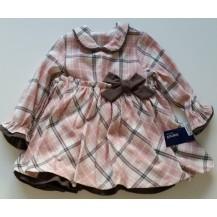 Vestido talle alto cuadros rosa y marrón