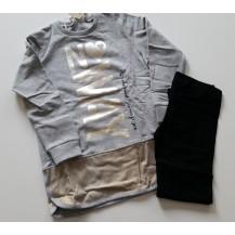 Conjunto leggins negro y sudadera gris plata