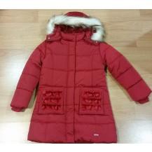 Abrigo acolchado rojo capucha pelo