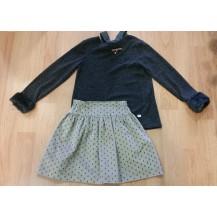 Conjunto falda calaveras y jersey antracita