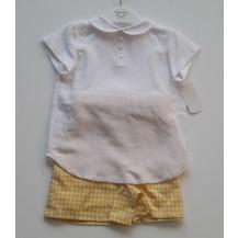 Conjunto bermuda vichy amarillo y blusa blanca