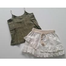 Conjunto falda volantes y blusa tirante verde