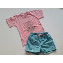 Bañador raquetas verde agua y camiseta rosa palo
