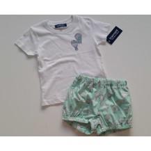 Conjunto bombacho + camiseta globos verde