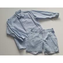 Conjunto bermuda azul y camisa cuadros