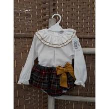 Conjunto blusa viyella y culetín cuadros mostaza
