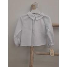 Blusa blanca cuello bebe pico