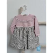 Vestido combinado liberty rosa