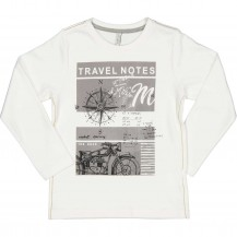 Camiseta travel blanca y gris