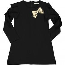 Vestido negro lazo dorado