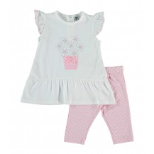 Conjunto leggins y camiseta rosa flores