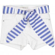 Short blanco cinturón azulón