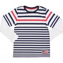 Camiseta manga larga rayas marino y roja