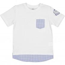 Camiseta bolsillo geométrico azul