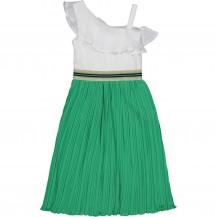 Vestido blanco y plisado verde