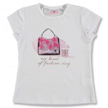 Camiseta manga corta blanca bolso y cafe