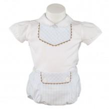 Conjunto popelin braguita vichy celeste y blusa blanca