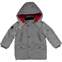 Abrigo acolchado gris forro rojo
