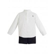 Camisa niño blanca puntos negros