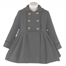 Abrigo paño gris oscuro botones