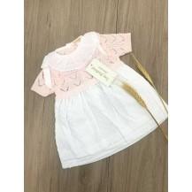 Vestido combinado plumeti rosa lazos