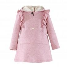 Vestido punto rosa palo capucha